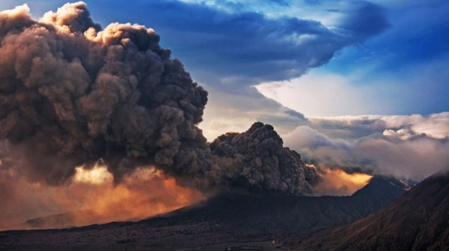 Bromo Volcano form East Java in the eruption time, Indonesia.
